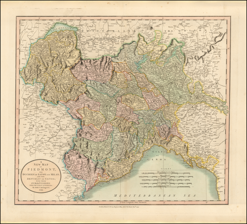 A New Map of Piedmont, The Duchies of Savoy and Milan; And the Republic of Genoa; with their Subdivisions . . .  1799 By John Cary