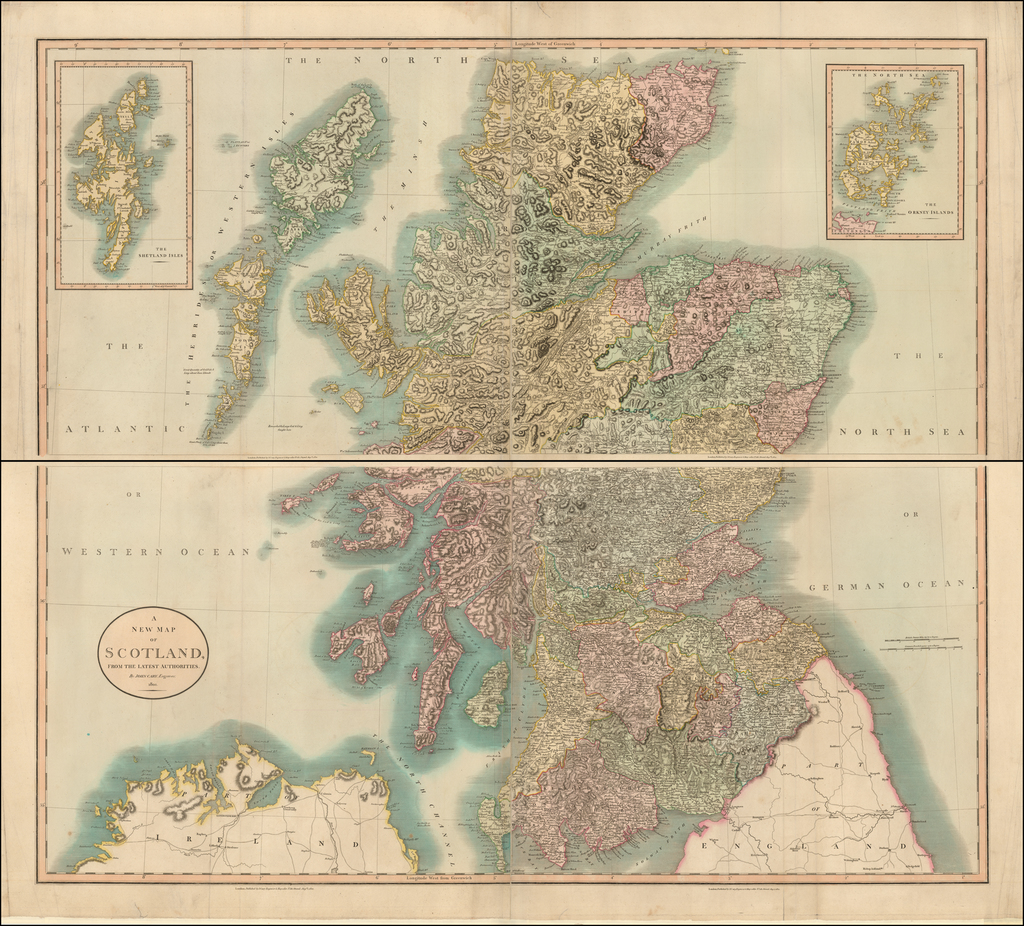 A New Map of Scotland From The Latest Authorities . . . 1801 By John Cary