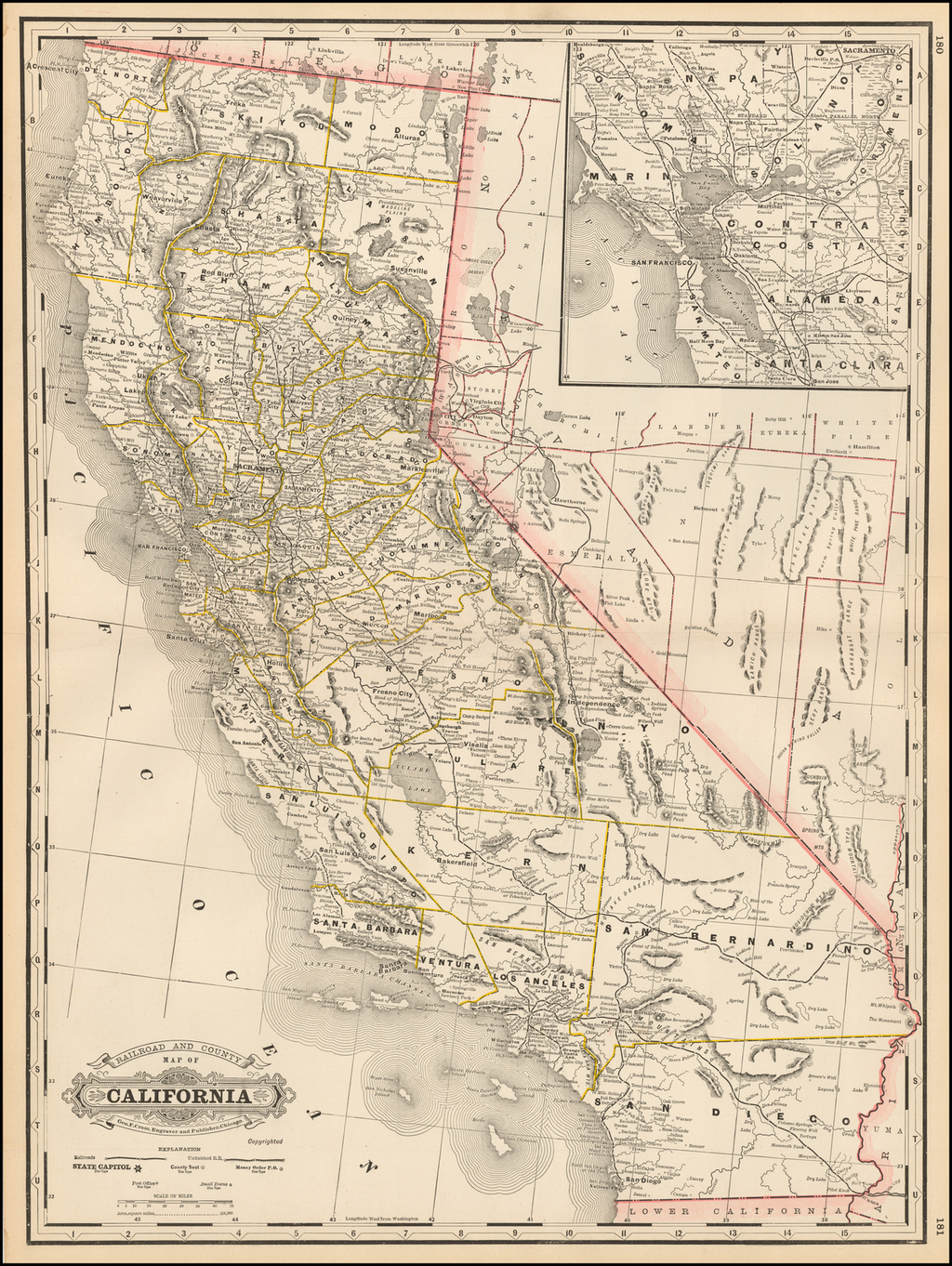 Railroad and County Map of California By George F. Cram