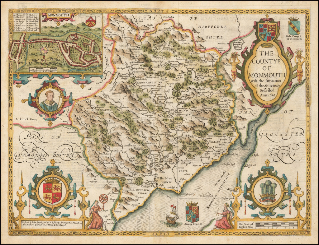 The Countye of Monmouth wih the sittuation of the Shire-towe Described Ann 1610 By John Speed