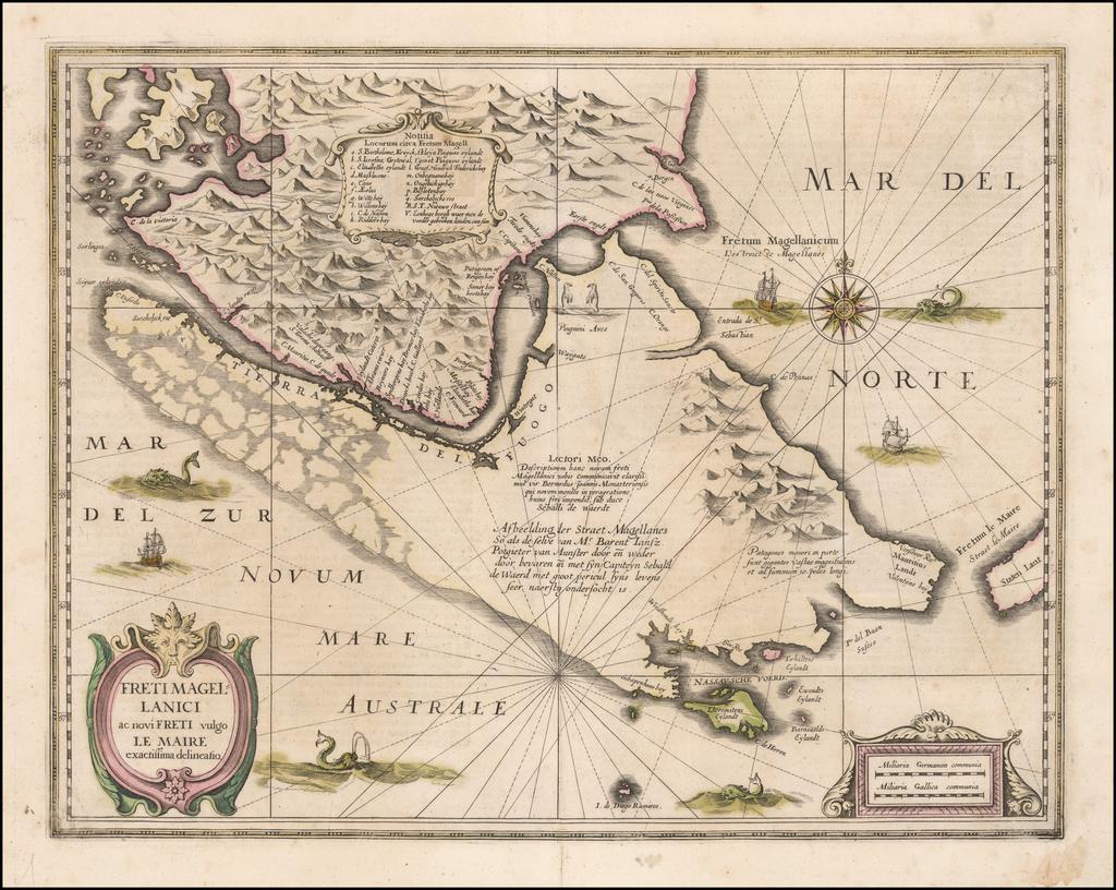 Freti Magellanici ac novi Freti vulgo Le Maire exactissima delineatio By Henricus Hondius
