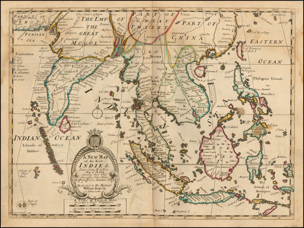 A New Map of the East Indies, Taken from Mr. De Fer's Map of Asia, Shewing their Chief Divisions . . .  &c.  Dedicated to His Highness William Duke of Gloucester By Edward Wells