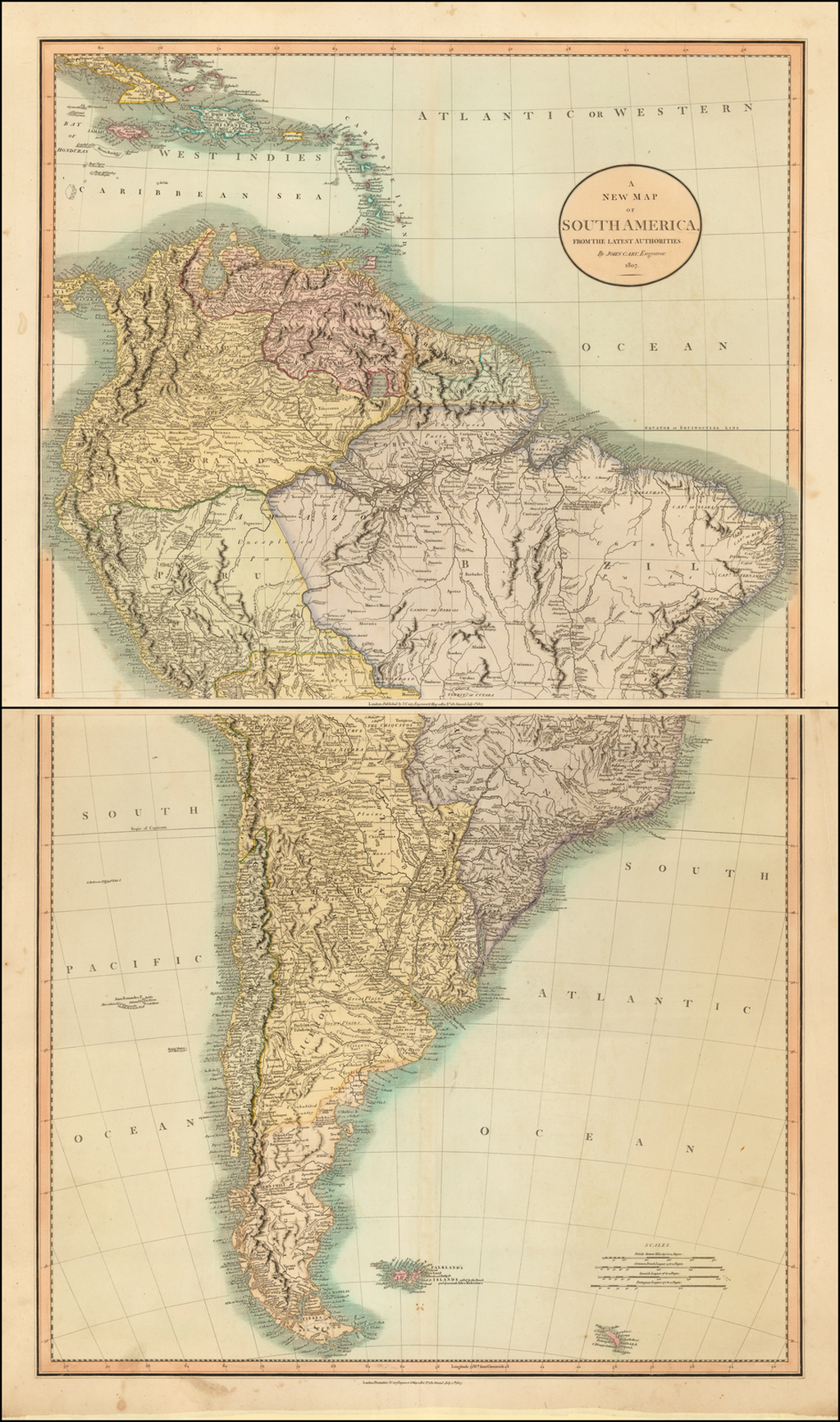 A New Map of South America From The latest Authorities . . . 1807 By John Cary