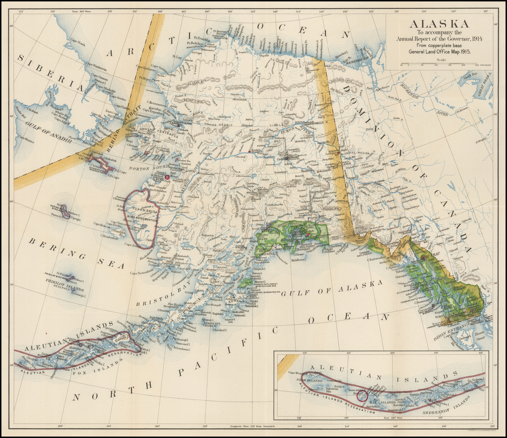 Alaska To accompany the Annual Report of the Governor, 1914  From copperplate base General Land Office Map 1915 By U.S. Geological Survey