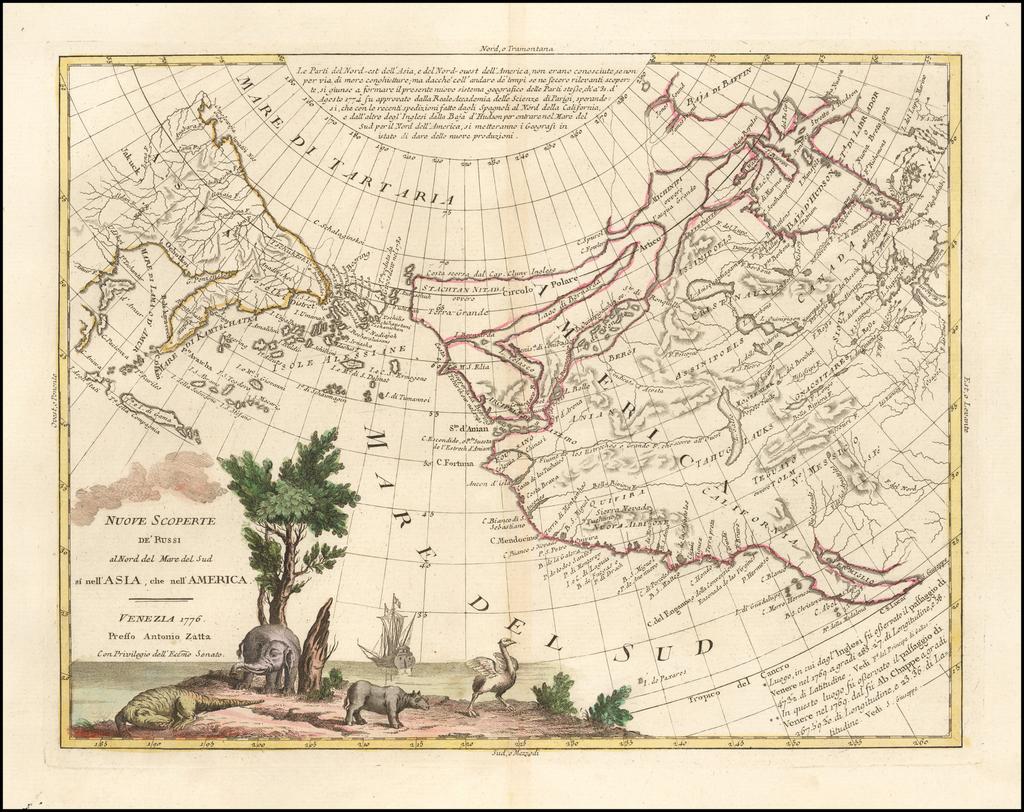 Nuove Scoperte de' Russi al Nord del Mare del Sud si nell'Asia, che nell'America . . . 1776 . . .  By Antonio Zatta