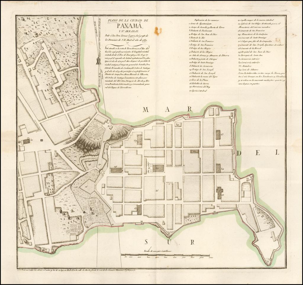 Plano de la Ciudad de Panama, y su Arrabal.  Dale a luz Don Tomas Lopez, Geografo de los Dominios de S.M> Madrid ano de 1789. By Tomás López