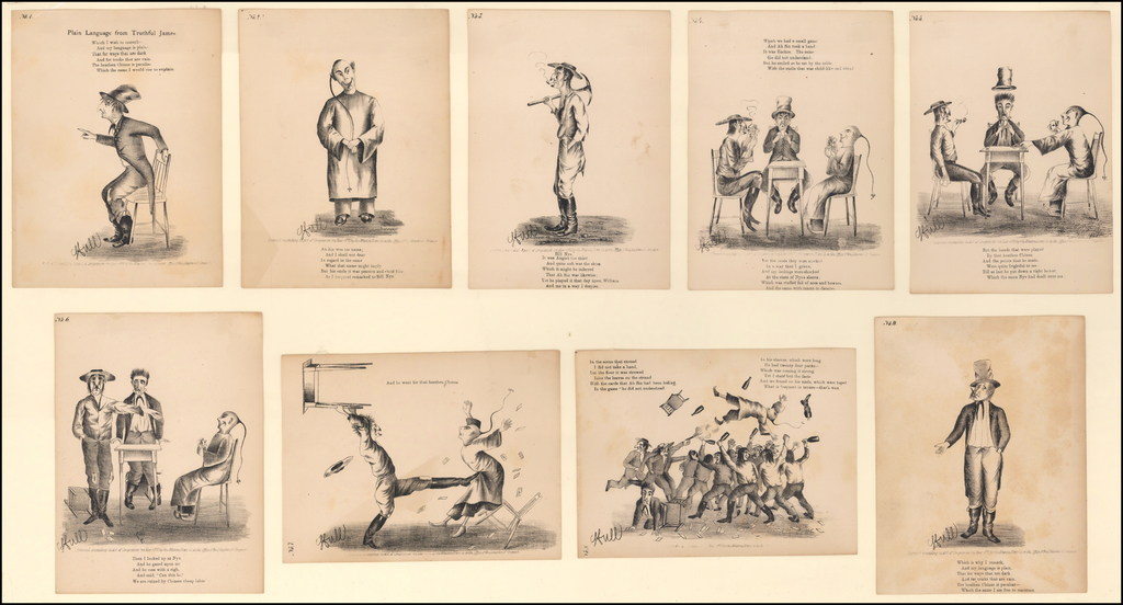 The Heathen Chinee  (A series of 9 lithographs illustrating a Poem by Bret Harte) By Bret Harte