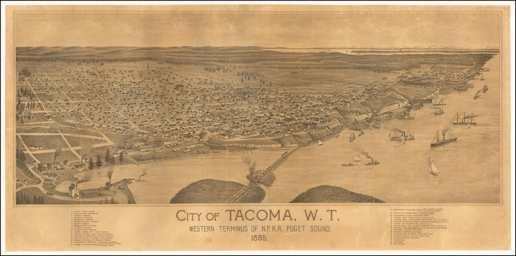 City of Tacoma, W.T. Western Terminus of the N.P.R.R. Puget Sound 1885 By Anonymous