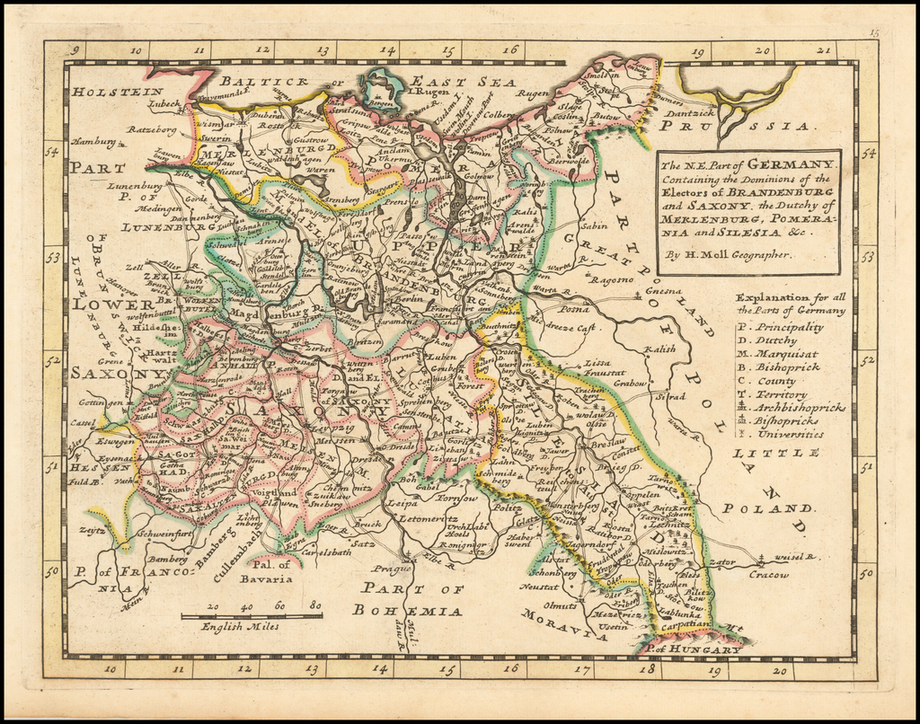 The N.E. Part of Germany Containing the Dominions of the Electors of Brandenburg and Saxony, the Dutchy of Meklenburg, Pomerania and Silesia &c. By Herman Moll