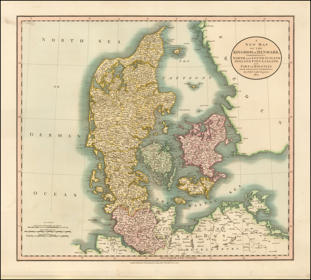 A New Map of the Kingdom of Denmark, Comprehending North and South Jutland, Zeeland, Fyen, Laaland and part of Holstein . . . 1801 By John Cary
