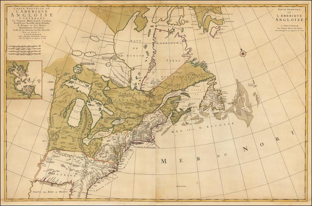 Carte Nouvelle de L'Amerique Angloise Contenant La Virginie, Mary-Land, Caroline, Pennsylvania.. By Pieter Mortier