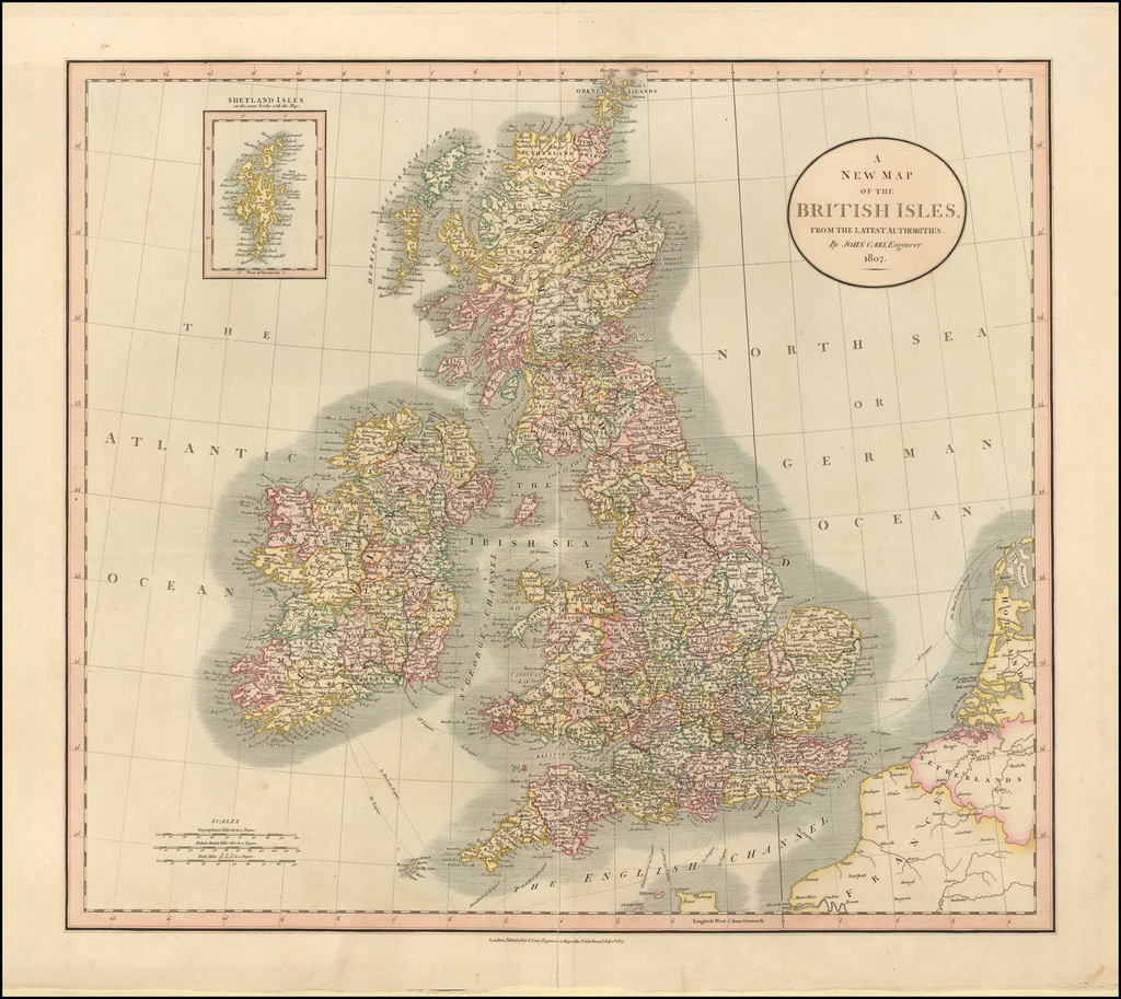A New Map of the British Isles, from the Latest Authorities . . .  1807 By John Cary