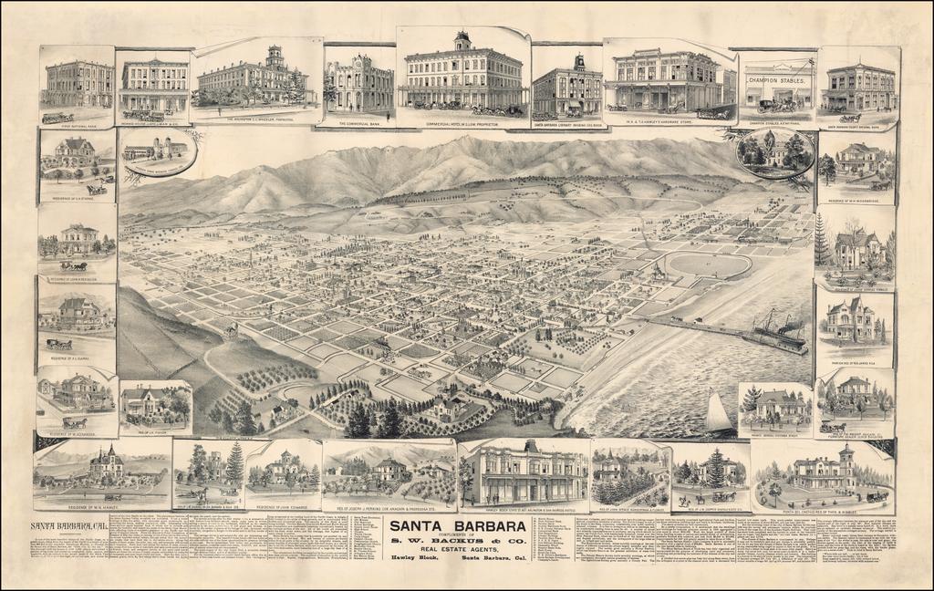 Santa Barbara. Compliments of S.W. Backus & Co., Real Estate Agents, Hawley Block, Santa Barbara, Cal. By W. W. Elliott
