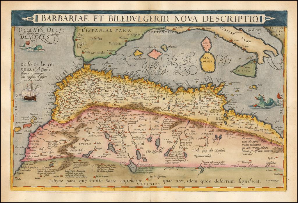 Barbariae Et Biledulgerid Nova Descriptio By Abraham Ortelius