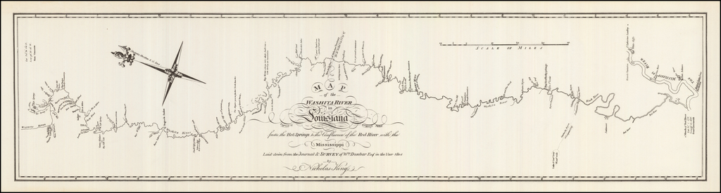 Map of the Washita river in Louisiana from the Hot Springs to the confluence of the Red River with the Mississippi / laid down from the Journal & survey of Wm. Dunbar in the year 1804 . . . . By George T. Dunbar / Nicholas King