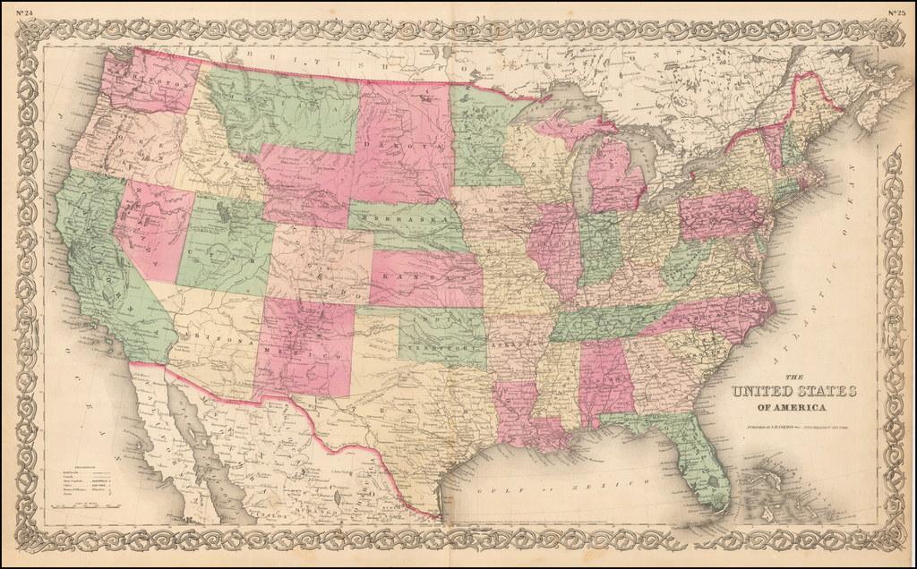 The United States of America [Wyoming attached to Dakota] By Joseph Hutchins Colton