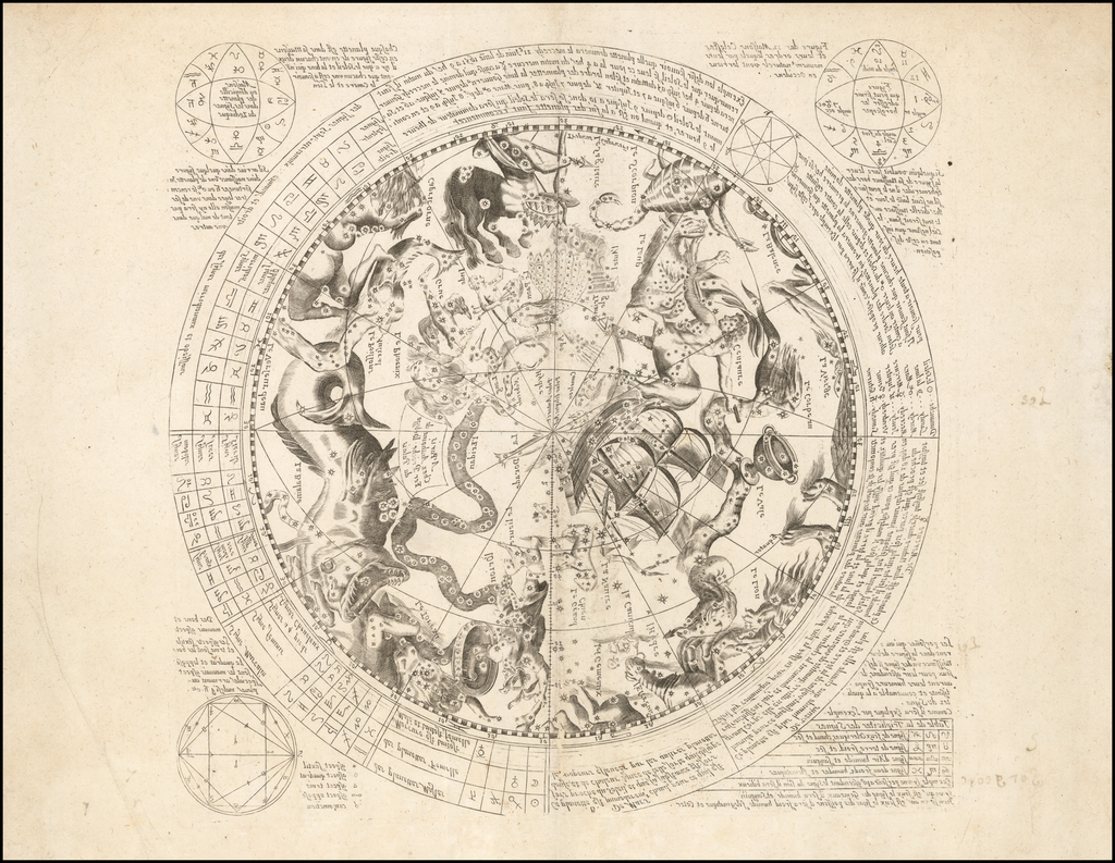 [Celestial Chart of Southern Hemisphere with Horoscope and Astrological Information, Printed in Mirror Image] By Antoine De Fer