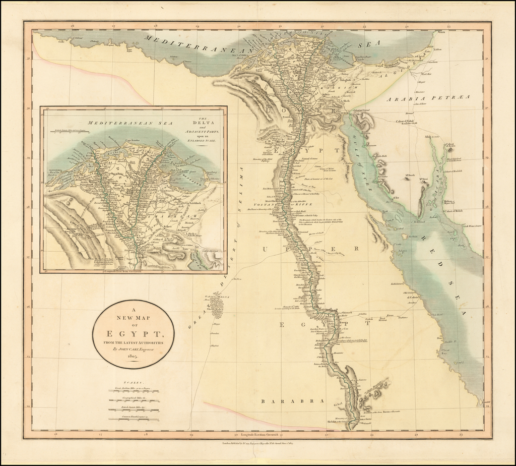 A New Map of Egypt, From the Latest Authorities . . . 1805 By John Cary
