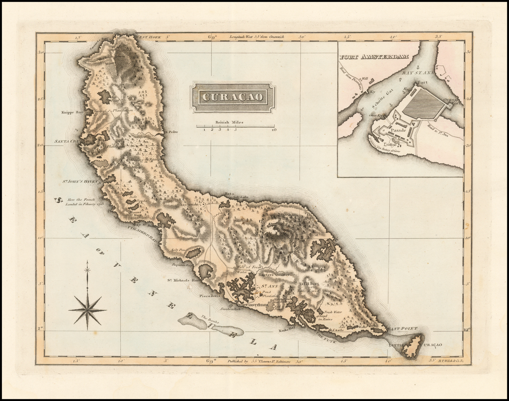 Curacao (with Fort Amsterdam inset) By Fielding Lucas Jr.