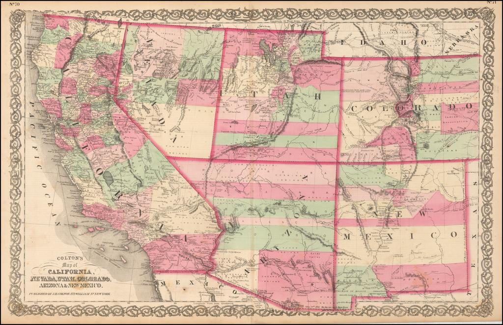 Colton\'s Map of California, Nevada, Utah, Colorado, Arizona ...