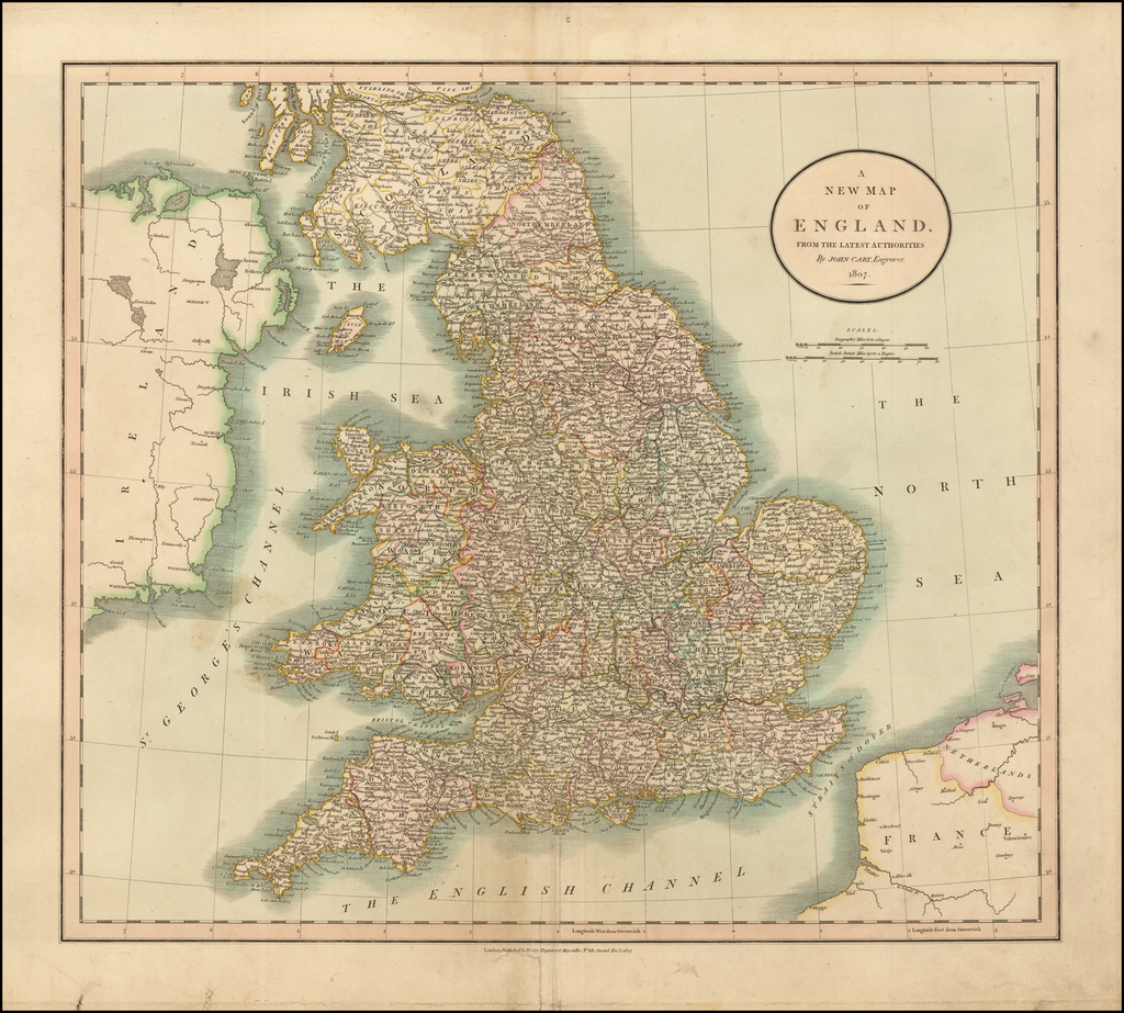A New Map of England, from the Latest Authorities . . . 1807 By John Cary