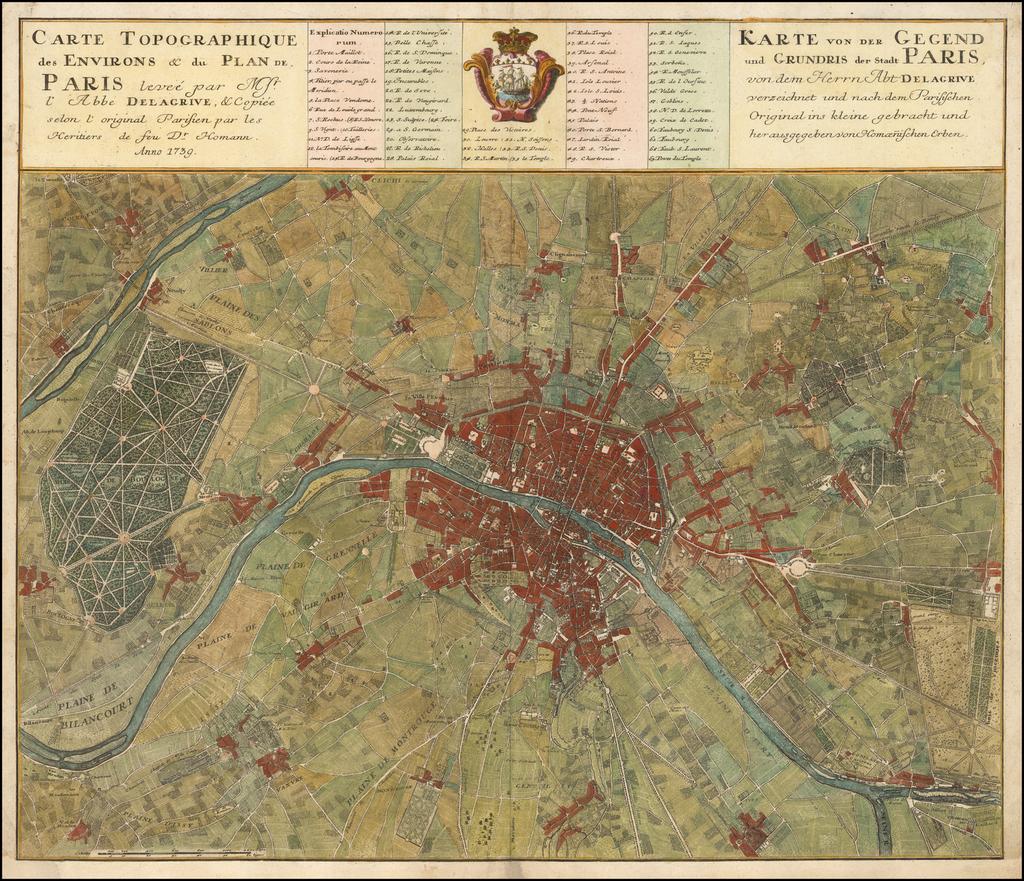 Carte Topographique des Environs & du Plan de Paris levee par Mr. l'Abee Delarive . . . 1739 By Homann Heirs
