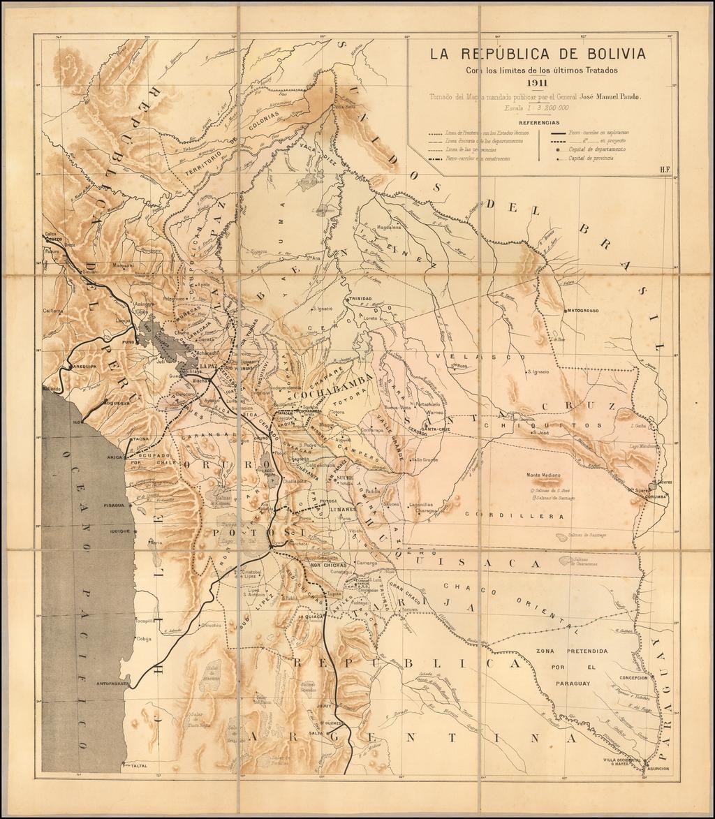 La Republica de Bolivia Con los limites de los ultimos Tratados -- 1911 -- Tomado del Mapa mandado publicar par el General Jose Manuel Pando . . .  By Anonymous
