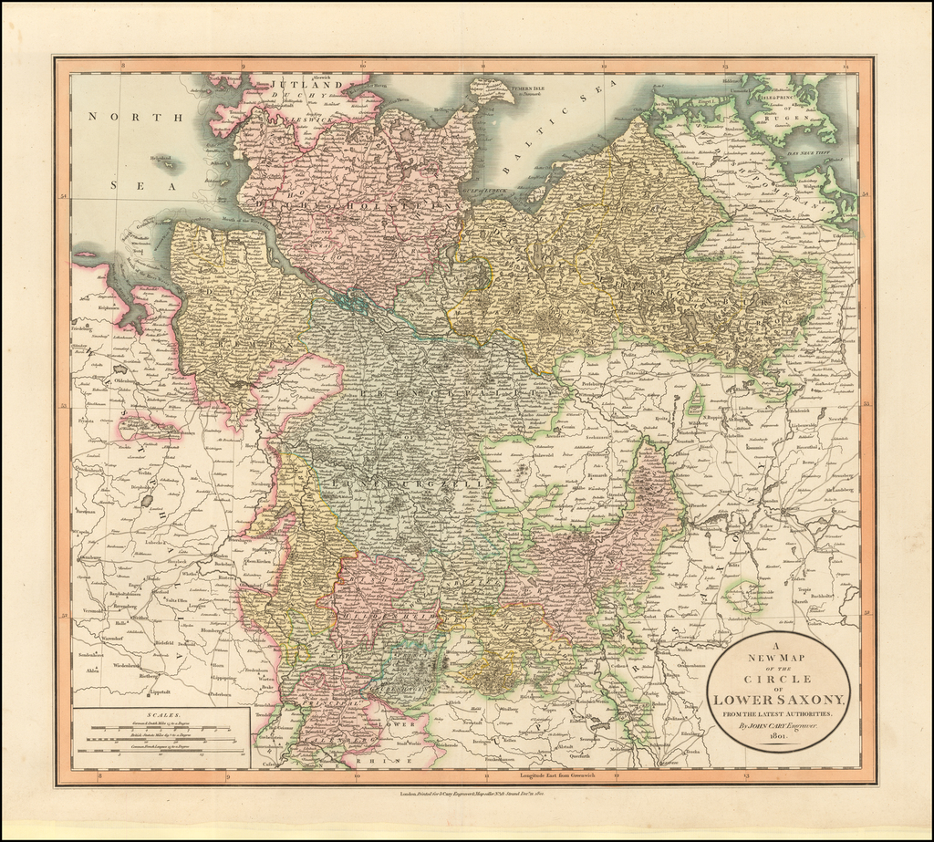 A New Map of the Circle of Lower Saxony From the Latest Authorities . . . 1801 By John Cary