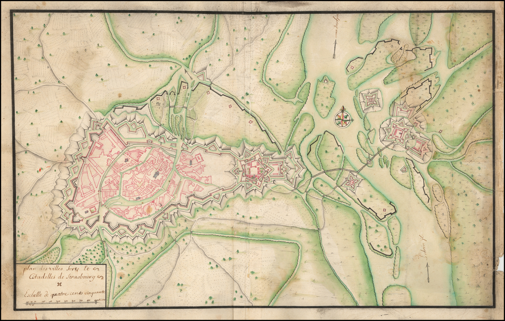 plan des villes forts et Citadelles de Strasbourg . . . (with Kehl) By Anonymous