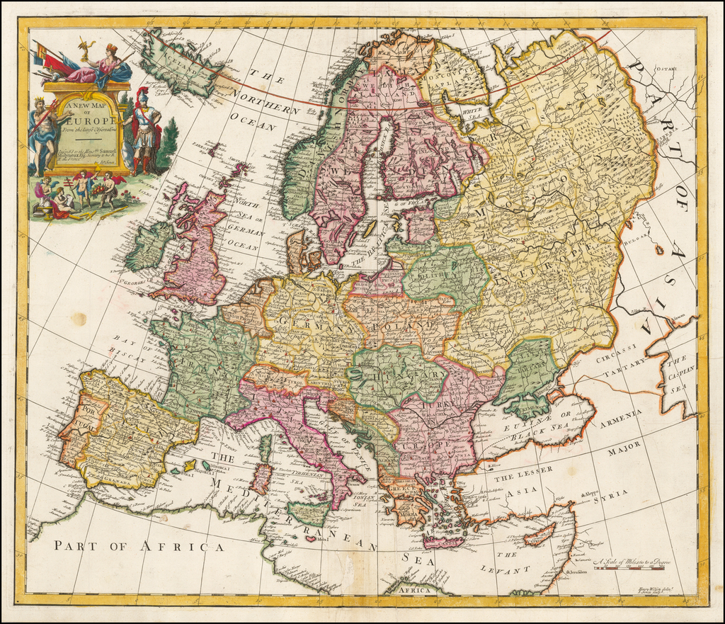 A New Map of Europe From the latest Observations By John Senex