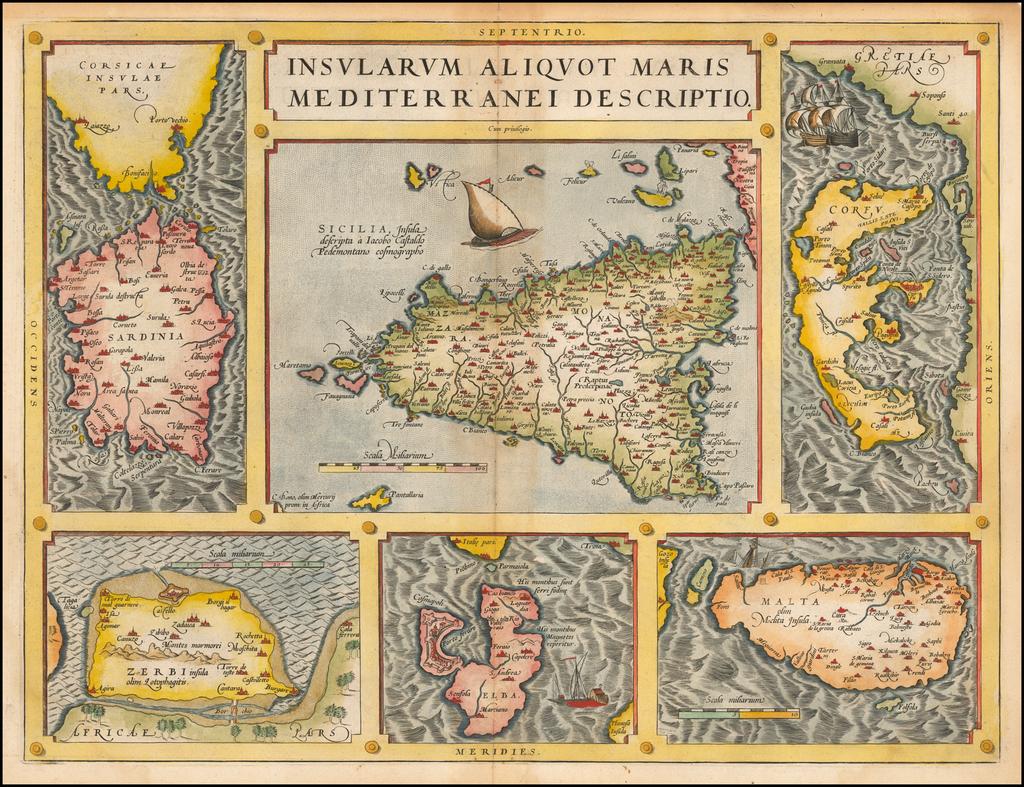 Insularum Aliquot Maris Mediterranei Descriptio [Sicily, Malta, Sardinia, Corfu, Elba and Zerbia] By Abraham Ortelius