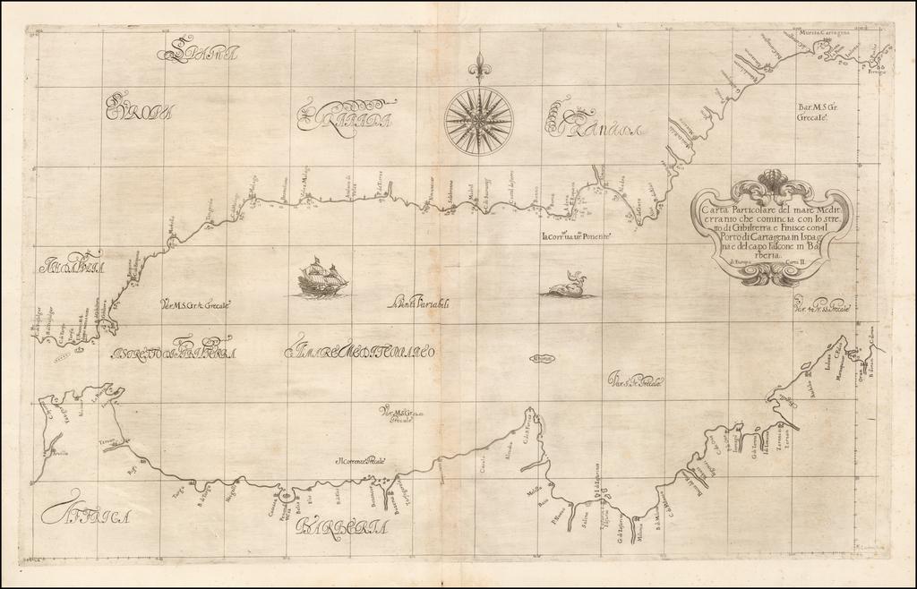 Carta Particolare del Mare Mediterranio che Comincia con lo Stretto di Gibilterra e Finisce con il Porto di Cartagena in Ispagna e del Capo Falcone in Barberia By Robert Dudley