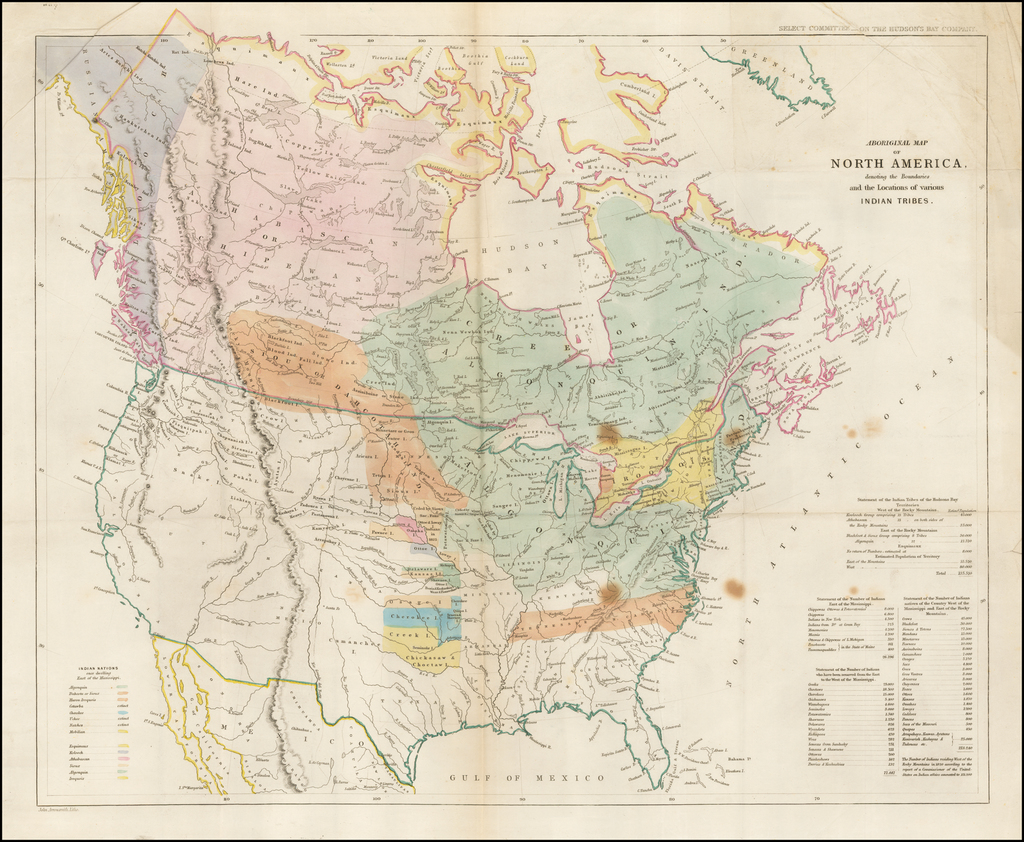 Aboriginal Map of North America, denoting the Boundaries and the Locations of various Indian Tribes. By John Arrowsmith
