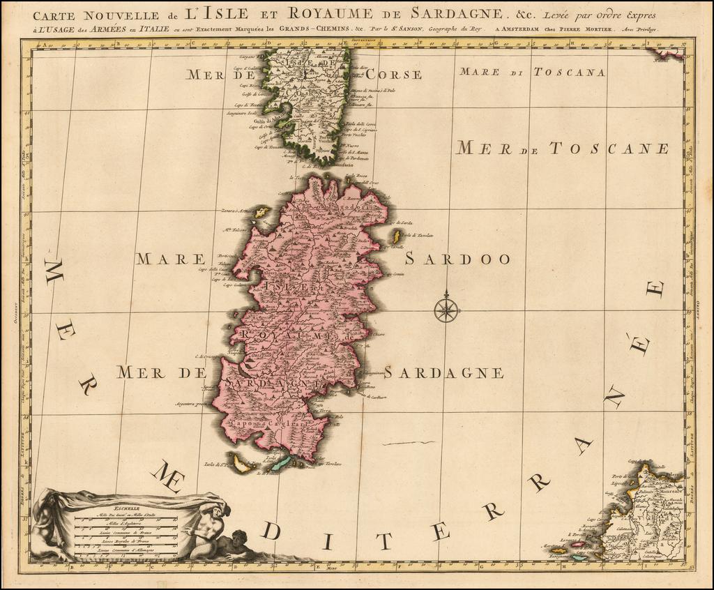 Carte Nouvelle de L'Isle et Royaume  de Sardagne &c.  By Pieter Mortier