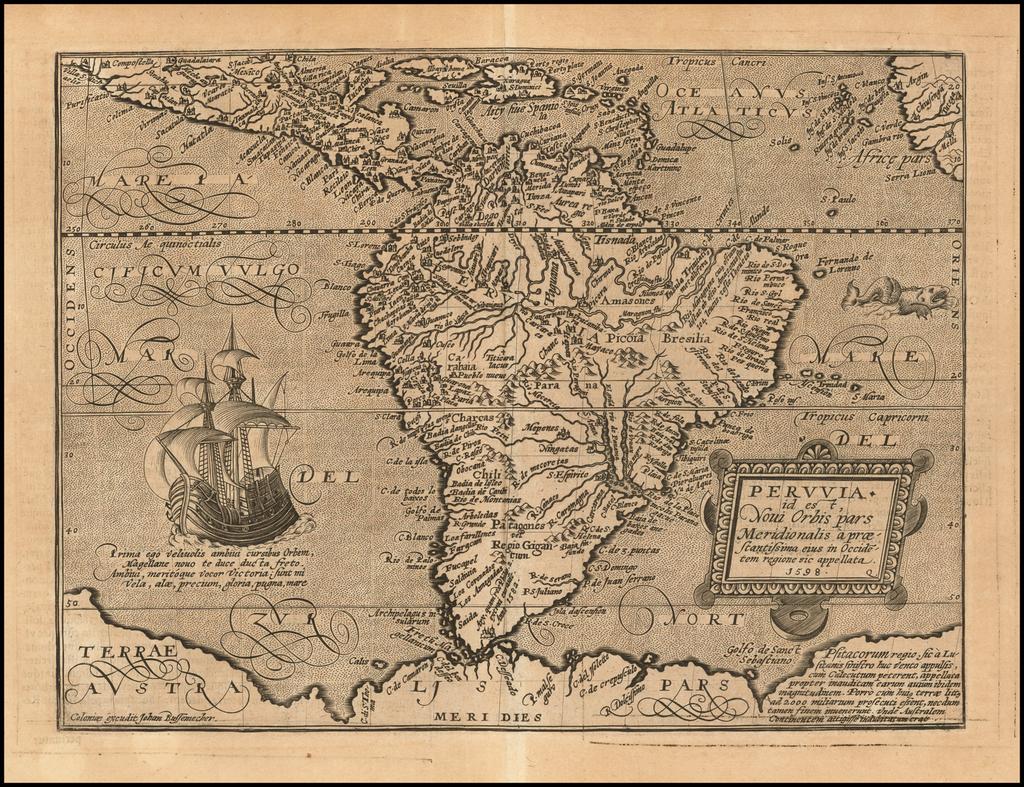 Peruvia id est, Novi Orbis pars Meridionalis a Praestantissima eius in Occidetem Regione sic Appellata. 1598 By Matthias Quad / Johann Bussemachaer