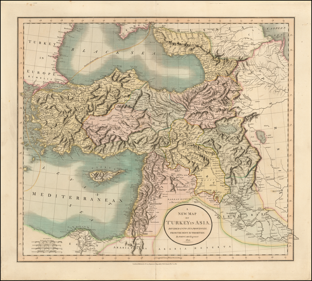 A New Map of Turkey In Asia, Divided into its Provinces . . . 1801 [Cyprus] By John Cary