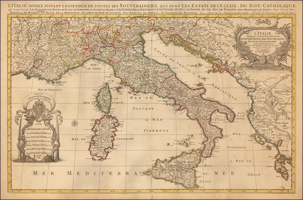 L'Italie distinguee suivant l'estendue de tous Les Estats, Royaumes, Republiques, Duches, Principautes qui la partagent presentement . . .  By Pieter Mortier