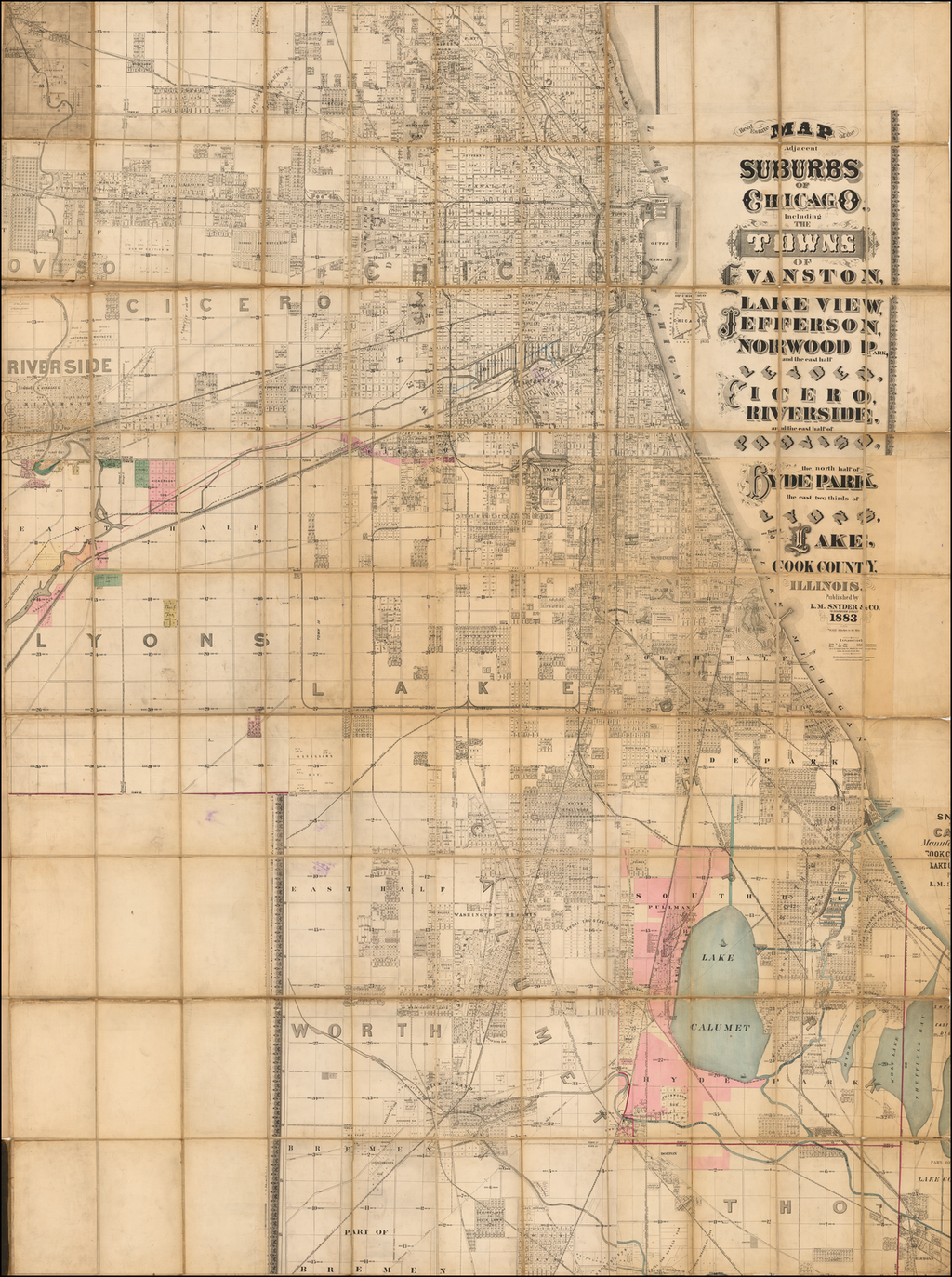 Real Estate Map of the Adjacent Suburbs of Chicago Including The Towns of Evanston, Lake View, Jefferson, Norwood Park, and the east half of Leyden, Cicero, Riverside, and the east half of Proviso, the north half of Hyde Park, the east two thirds of Lyons, and Town of Lake, Cook County, Illinois. By L.M. Snyder & Co.