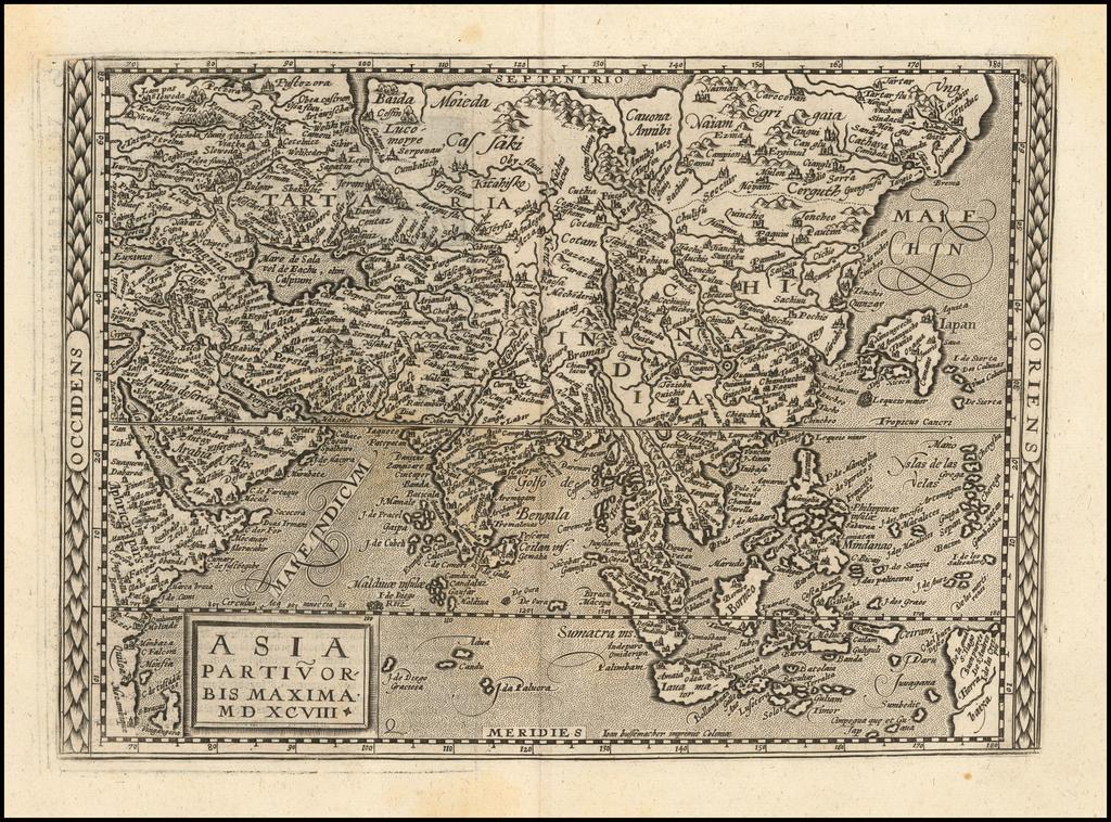 Asia Partiu Orbis Maxima MDXCVIII By Matthias Quad / Johann Bussemachaer