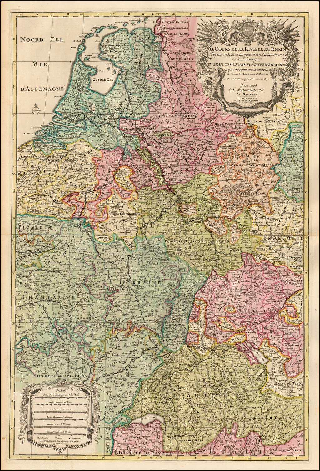 Le Cours de la Riviere du Rhein depuis sa Source jusques a son Emboucheure ou sont distingues Toutes les Estates et Souverainetes . . .  By Pieter Mortier