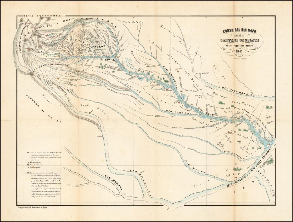 Corso Del Rio Napo tracciato da Gaetano Osculati Nel suo viaggio sotto l'Equatore nel 1847 By Gaetano Osculati