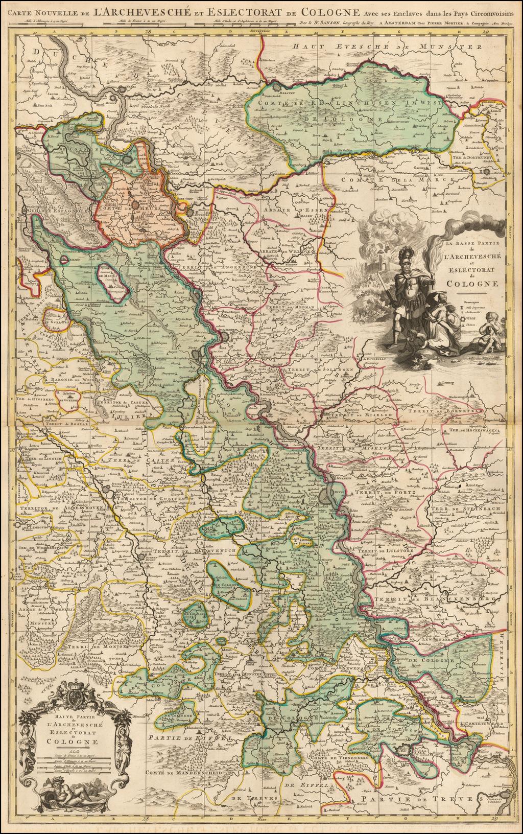 Carte Nouvelle de L'Archevesche et Eslectorat de Cologne avec ses Enclaves dans les Pays Circonvoisins By Pieter Mortier