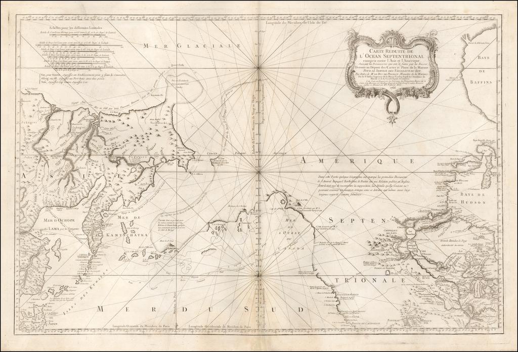 Carte Reduite De L'Ocean Septentrional compris entre l'Asie et l'Amerique  Suivant les Decouvertes qui ont ete faites par les Russes . . . 1766 By Jacques Nicolas Bellin