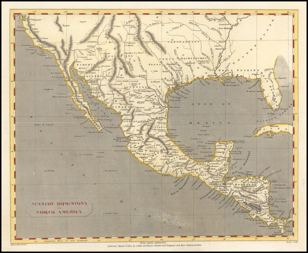 Spanish Dominions in North America By Aaron Arrowsmith  &  Lewis