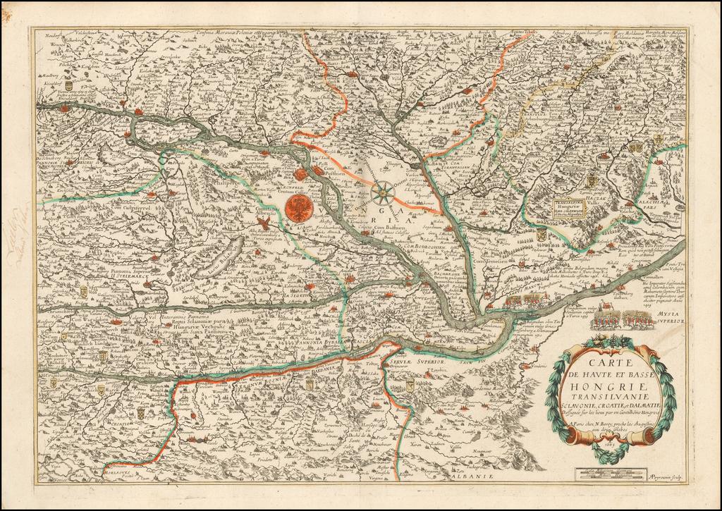 Carte de Haute et Basse Hongrie Transilvanie Sclavonie, Croatie, et Dalmatie Dessigneee sur les lieux par un Gentilhome Hongrois . . . 1663 By Nicolas Berey