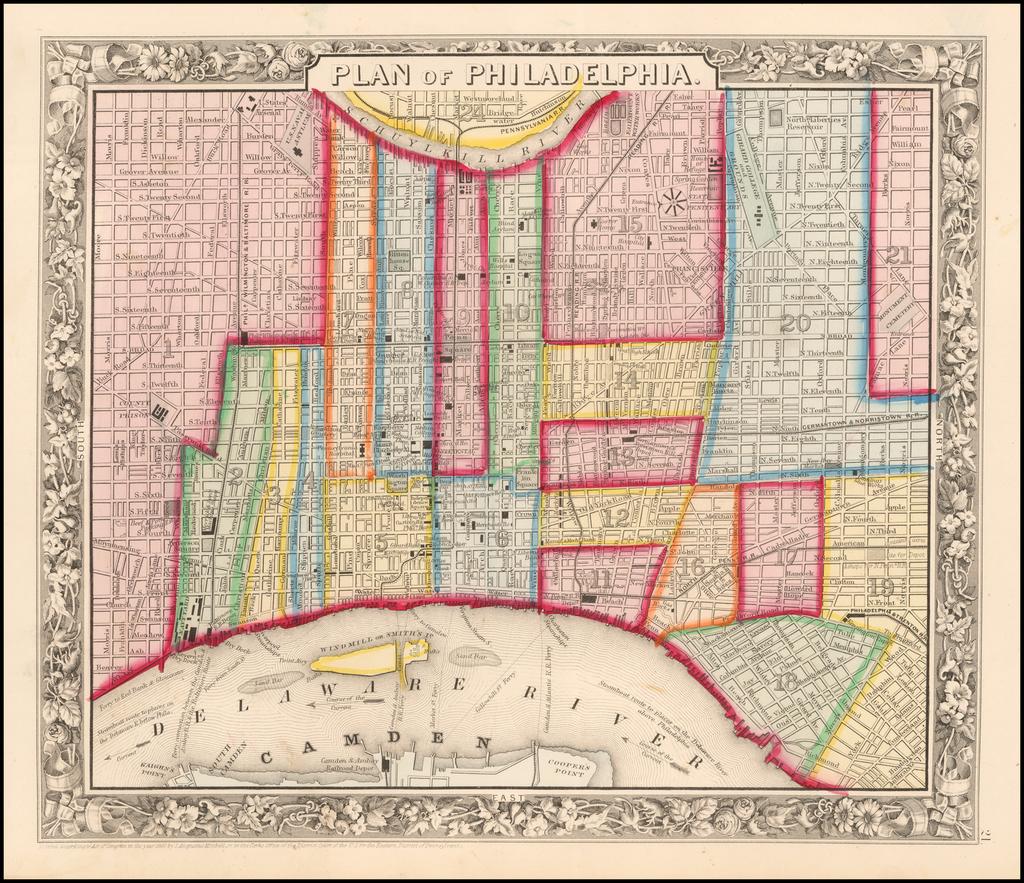 Plan of Philadelphia By Samuel Augustus Mitchell Jr.