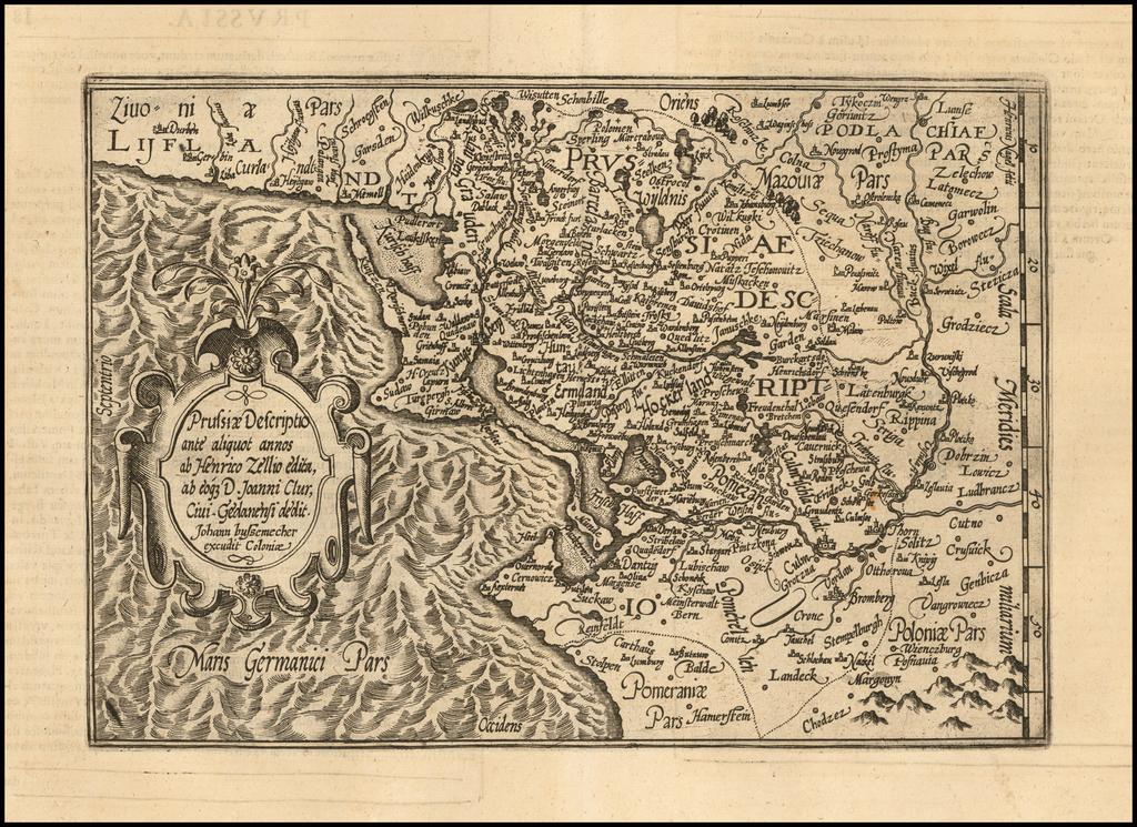 Prussiae Descriptio ante aliquot annos ab Henrico Zellio edita, ab eoque D. Joanni Clur, Civi Gedanensi dedit By Matthias Quad