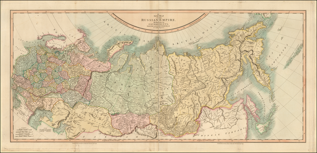 A New Map of the Russian Empire, Divided into its Governments; from the Latest Authorities By John Cary