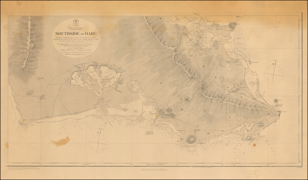 Southside of Oahu.  Shorelines & Topography from a Hawaiian Government Survey in 1878; Hydrography from Surveys by the Officers of the U.S. Explg. Expedition in 1840, and of the U.S. Ships California & Pensacola in 1873 & 1875 . . .  By U.S. Navy Hydrographic Office