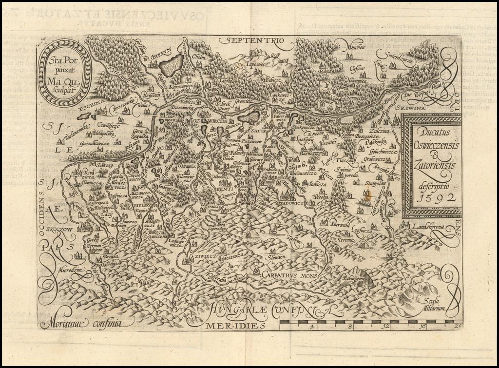 Ducatus Oswieczensis & Zatoriensis descriptio 1592 By Matthias Quad